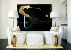 Atlanta Homes & Lifestyles - living rooms - white walls, white wall color, hardwood floors, dark hardwood floors, ebony hardwood floors, bra...