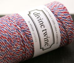 PAR AVION Airmail Red, White and Blue Twisted Bakers Twine String for crafting, gift wrapping, packaging, invitations - 240 yards