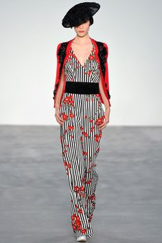 L'Wren Scott Spring 2014 RTW. stripes and florals. black and white. red accents. jumper. #LWrenScott #Spring2014 #LFW