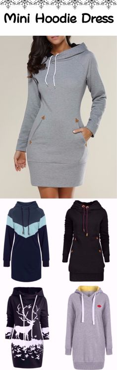 #Mini #Hoodie #Dress | Up To 80% OFF | Sammydress.com