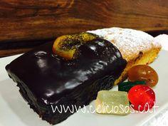 Plum Cake de fruta escarchada y chocolate. Super sabroso.