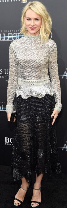 Who made  Naomi Watts' jewelry, black skirt, silver top, and sandals?