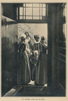 Sinterklaas and Zwarte Piet standing on the porch 1931   Flickr - Photo Sharing!