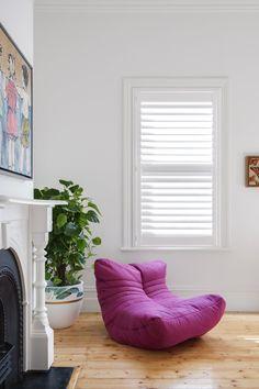 Timber Shutter in Phoenixwood – Silk White, Blade. Kitchen Living, Room Kitchen, Pelmets, Custom Windows, Roman Blinds, Roller Blinds, Beautiful Space, Shutters, Bean Bag Chair