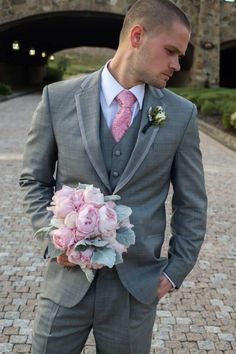 Grey suit, pink tie! | wedding suit | Pinterest | Tablecloths ...