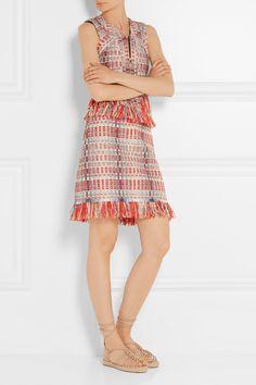 Tory Burch | Tara fringed metallic tweed skirt | NET-A-PORTER.COM