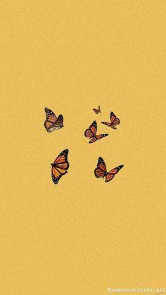 Pin on wallpaper Butterfly Wallpaper Iphone, Cartoon Wallpaper Iphone, Homescreen Wallpaper, Iphone Background Wallpaper, Retro Wallpaper, Aesthetic Pastel Wallpaper, Iphone Wallpaper Orange, Wallpaper Quotes, Aesthetic Wallpapers
