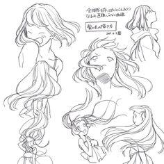 Windy/Movement 1 - Back Manga Drawing Tutorials, Drawing Techniques, Art Tutorials, Digital Painting Tutorials, Drawing Reference Poses, Drawing Skills, Hair Reference, Drawing Tips, Art Drawings Sketches