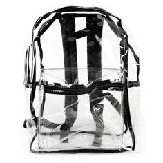 CLEAR BACKPACK WITH BLACK PATENT TOTE ($20) ❤ liked on Polyvore featuring bags, backpacks, handbag tote, clear handbags totes, clear tote bags, zip tote bag and zipper tote