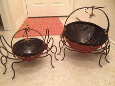 Longaberger Autumn Treats Baskets & Wrought Iron Spider Legs, Halloween Web Lot