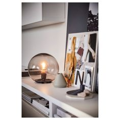 IKEA - FADO, Table lamp, gray, Creates a soft, cozy mood light in your room. Grey Table Lamps, Table Lamps For Bedroom, Lamp Table, Ikea Fado, Room Lights, Ceiling Lights, Table Ikea, Grey Home Decor, Sign Lighting