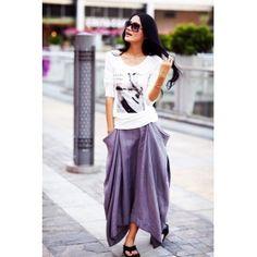 Boho Linen Skirt, Lagenlook Maxi Skirt Big Pockets Big Sweep Long Skirt in Grey Summer Linen Skirt - NC144