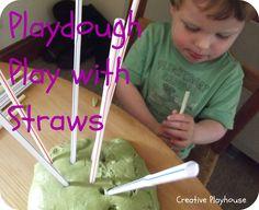 Playdough Play with Straws - Creative Playhouse- attach balloons
