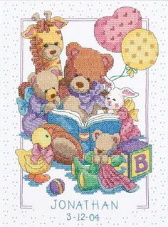 Dimensions Needlecrafts Stamped Cross Stitch, Teddy and Friends Birth Record