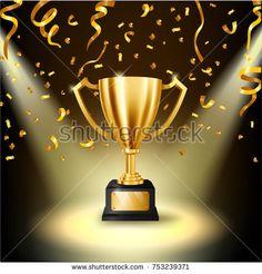 Realistic Golden Trophy illuminated spotlight with falling golden confetti. Vector Illustration