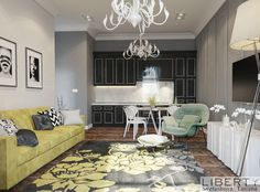 Дизайн квартиры-студии выполненный в современном стиле.