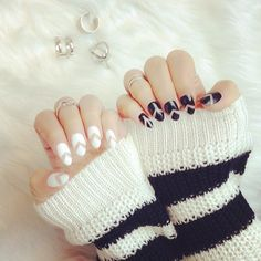 Full set with design $50 black and white nails done by @laquenailbar by laquenailbar http://ift.tt/1fw2Oid