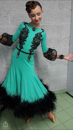 Such a beautiful dress but maybe not the sleeves Junior Dresses, Ball Dresses, Girls Dresses, Latin Ballroom Dresses, Ballroom Costumes, Dance Outfits, Dance Wear, Beautiful Dresses, Green Weddings