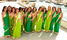 bridesmaid sarees  more inspiration at http://www.modernrani.com