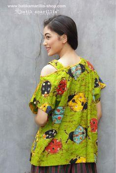 www.batikamarillis-shop.con  batik amarillis's breezy blouse 3 in classy & classic Ladybug pattern batik Wonogiren  This one shoulder cut out Top is super comfy with cut loose