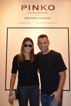 Carolina Marcialis and Antonio Cassano at #THEPINKOINVASION #sunglasses collection launch event #PINKO #MFW #SS16