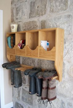 Solid Oak Hand Made Wellington Boot Rack by CorrennieCarpenty, Boot Rack, Wellies Boots, Wellington Boot, Handmade Furniture, Closet Ideas, Solid Oak, Floating Shelves, New Homes, Home And Garden