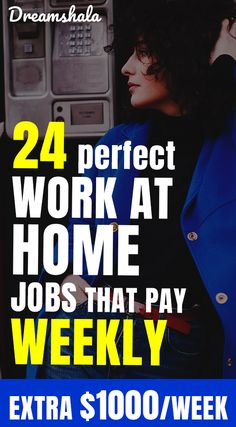 24 perfect work at home jobs that pay weekly. Earn Money From Home, Way To Make Money, Make Money Online, Online Cash, Online Income, Money Fast, Work From Home Jobs, Money Matters, Online Work