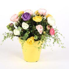 Distinctive Designs 7557 Assorted Silk Ranunculus Nosegay in an Amarillo Yellow Pot