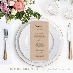 Rustic Printable Wedding Menu Template, 4x9 Wedding Menu Cards, Editable Text, Calligraphy Menu Cards, DIY Wedding Templates, 002
