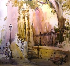 Laurentino Martí Watercolor Canvas, Watercolor Paintings, Watercolors, Marti, Spanish Art, Spanish Painters, Color Pencil Art, Urban Sketching, Beautiful Architecture
