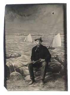 ca. 1900s-10s, [tintype portrait of a serious looking gent with a pipe and a rifle, posed in front of a painted nautical backdrop] via Capit...