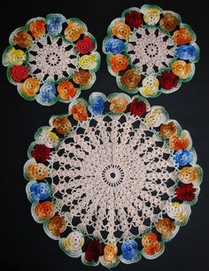Vintage Hand Crochet Colourful Pansy Design Three Piece Duchess Doily Doiley Set