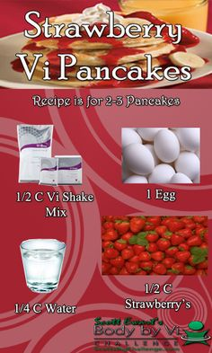 Mix together Vi-Shape shake mix, Water and egg in mixing bowl. Stir in fruit, gently. Pour batter onto slightly greased skillet. When pancake bubbles around edges and towards center, flip. Pancake is done when golden brown.  YES we can have our cake and eat it too!!!