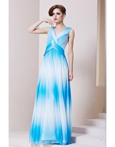 Cheap Charming Tencel V-neck Beading Ruching Ombre A-line Long Evening Dress