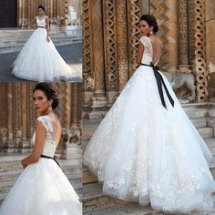Milla Nova 2017 New Sexy Wedding Dresses A Line Cap Sleeves Sheer Lace Appliques Beaded Black Sashes Backless Plus Size Formal Bridal Gowns Plus Size Wedding Dress Milla NovaWedding Dress 2017 Wedding Dress Online with $181.15/Piece on Haiyan4419's Store   DHgate.com