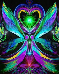 Uncondional Love - Twin Flames Heart Love Chakra Art Reiki Healing by primalpainter, $20.00
