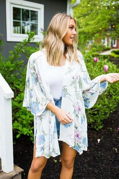 c95156b16e7 Ivory/Blue Floral Kimono. Ivory/Blue Floral Kimono - Dottie Couture Boutique