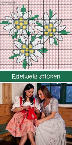 Edelweiß Motiv für das Oktoberfest sticken #Sticken #Kreuzstich / #Edelweiß #Oktoberfest ; #Embroidery #Crossstitch /  #octoberfest / #ZWEIGART