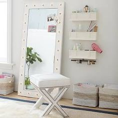 Shop Pottery Barn Teen's Hello Kitty Rowan Teen Bedroom for teen girl room ideas. Transform your space to express your individual style with our teen room inspiration and ideas. Teen Girl Bedrooms, Home And Deco, Home Living, My New Room, Room Inspiration, Furniture, Home Decor, Pottery Barn, Glass Shelves