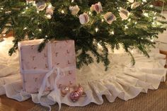 60 inch Ruffled Linen Double Ruffled Christmas Tree Skirt  Availabe in Soft White, Cream or Oatmeal
