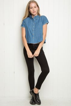 Brandy ♥ Melville | Peyton Denim Shirt - Tops - Clothing