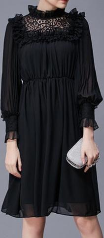 Black Pleated Ruffled Dress