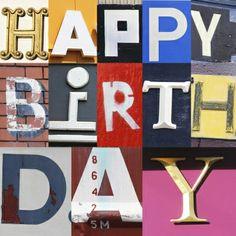 Verjaardagskaart Happy Birthday met gefotografeerde letters (revista-ontwerp.nl)