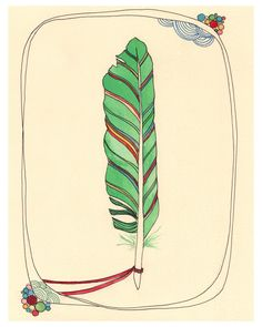 Feather art Print Illustration 8x10 - Light as a Feather. $18,00, via Etsy.