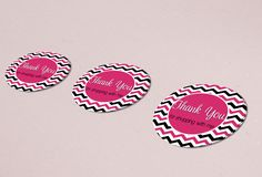 Thank You Sticker - Chevron Pink and Black