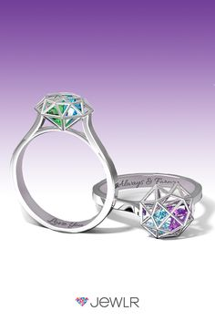 The unique Diamond Cage Ring is the perfect ring for couples, mothers, families and friends. Personalize in your choice of  silver, white, yellow or rose gold and fill the cage with sparkling heart birthstones to represent your loved ones. Add a custom engraving for an extra special touch. With free shipping, free resizing. free gift packaging and a bonus gift, Jewlr is the perfect place to design your dream ring.