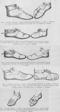 reconstruction of shoes found in Opole, Poland / 10th, 11th and 12th centuries