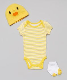 Another great find on #zulily! Yellow Duck Bodysuit Set - Infant by Vitamins Baby #zulilyfinds