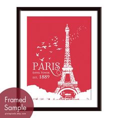 Eiffel Tower Paris Travel Posters 11x14 PRINT by pixiepixels, $15.95