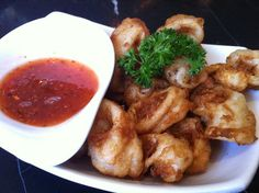 Food & Drinks - Coconut Calamari Tempura with Sweet Chili Sauce. See More on http://www.thequirkybits.com/.